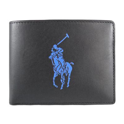 Ralph Lauren 藍色小馬3卡式短夾(黑)