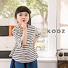 東京著衣KODZ酷琪琪聯名百搭休閒荷葉袖條紋上衣-童-S.M.L(共一色)