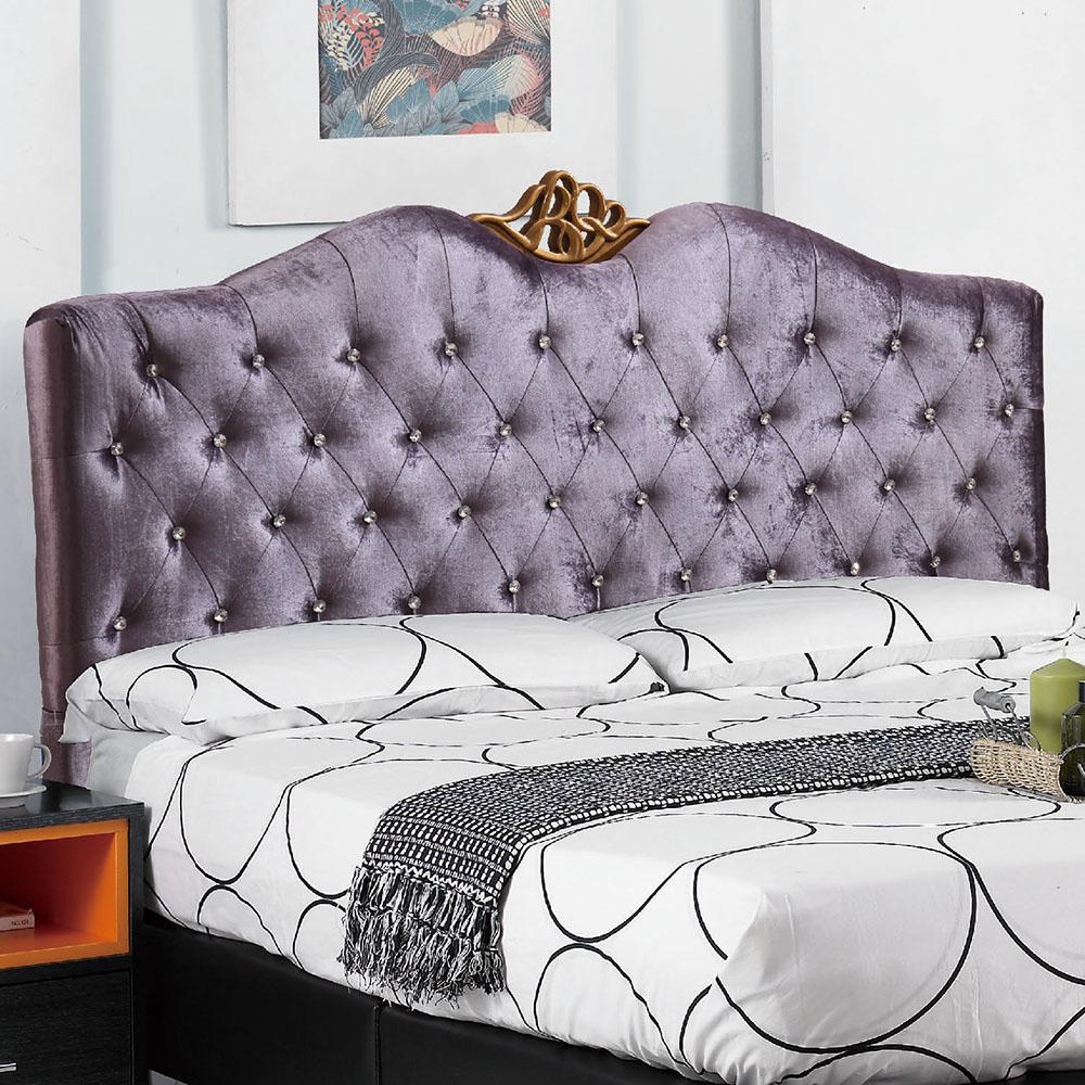 AT HOME 紫羅藍5尺紫色水鑽絲絨雙人床(153*200*124cm)不含床墊