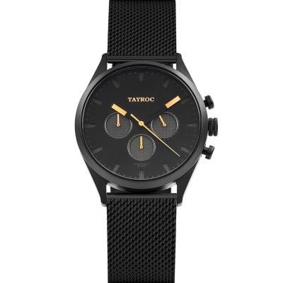 TAYROC 英式風尚米蘭帶三眼計時手錶-黑X金/42mm