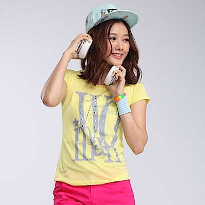 【TOP GIRL】印花燙鑽圓領T恤-亮黃色
