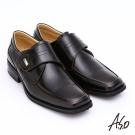 A.S.O 超輕型男系列 真皮奈米寬楦魔鬼氈紳士鞋 茶色