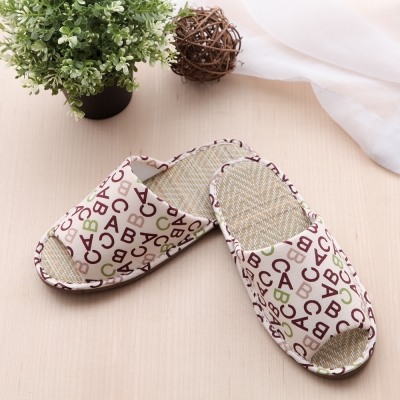 獨特布花-情侶字母舒適室內蓆拖鞋