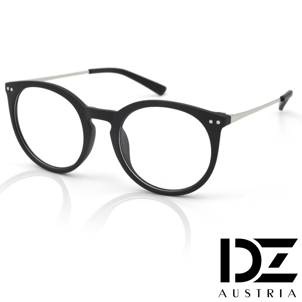 DZ 簡約雙圓釘 平光眼鏡(霧黑砂框)