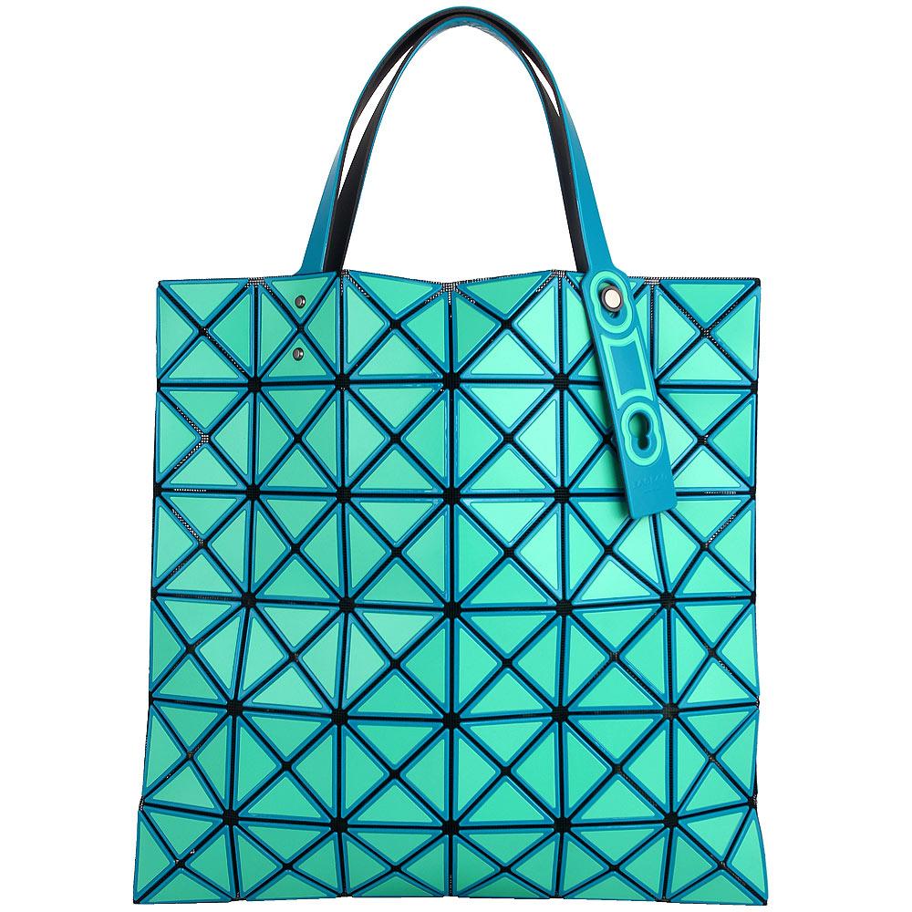 ISSEY MIYAKE 三宅一生BAOBAO雙色軟格6x6透光手提包(綠光藍/小)