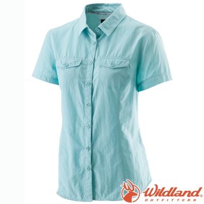 Wildland 荒野 W1203-65湖水藍 女 排汗抗UV短袖襯衫