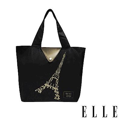 ELLE 鐵塔插畫環保摺疊購物袋-香檳金 G52368