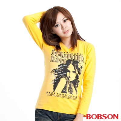 BOBSON-女款女款人像印圖長袖上衣
