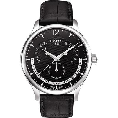 TISSOT Tradition 逆跳復刻經典腕錶-黑/42mm