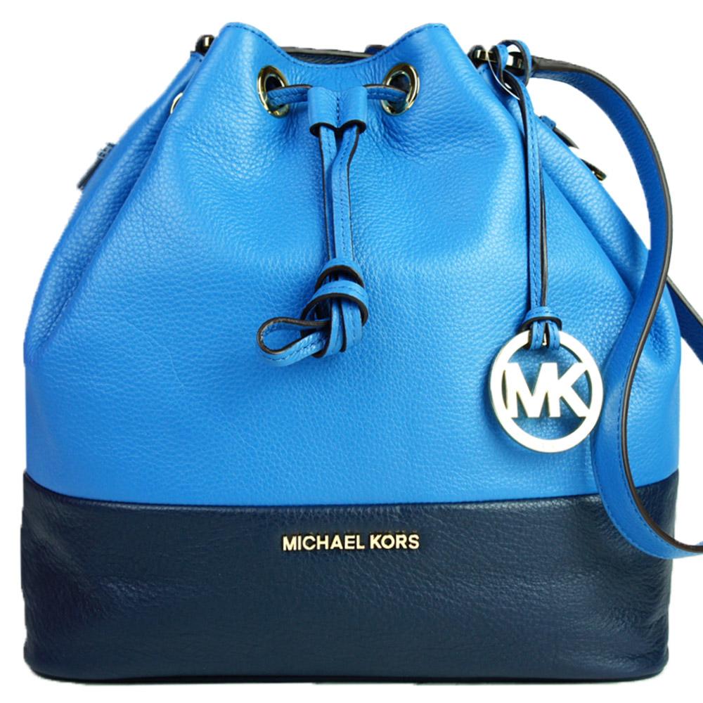 MICHAEL KORS JUKES束口撞色皮革水桶包(藍x深藍)