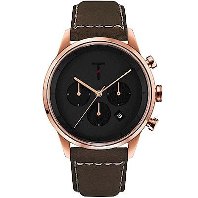 TYLOR 風尚三眼計時皮革手錶-黑X玫瑰金框/43mm