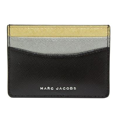 MARC JACOBS Saffiano Tricolor 多色拼接防刮牛皮名片夾-黑色