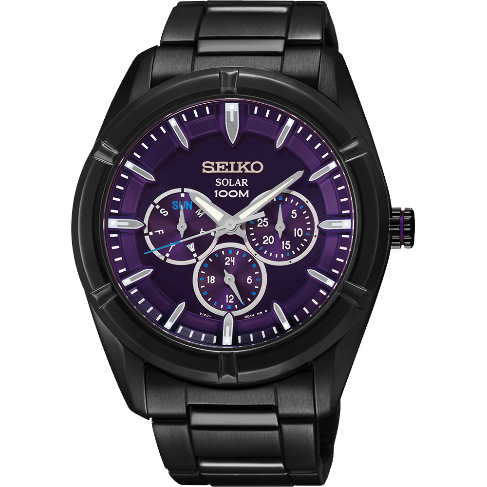 SEIKO Criteria 全面攻佔太陽能日曆腕錶-紫/IP黑/42mm