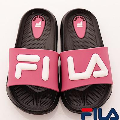 FILA頂級童鞋 輕量止滑拖鞋款 FO31S-021黑桃(中小童段)