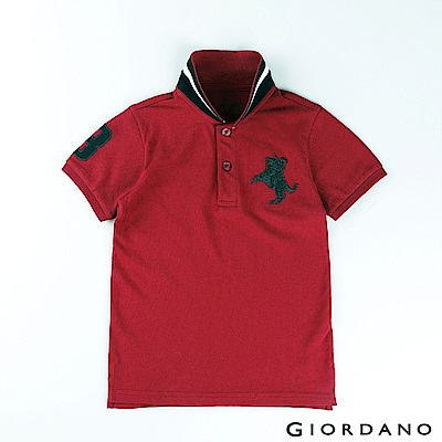 GIORDANO 童裝拿破崙刺繡短袖POLO衫-81 標誌紅