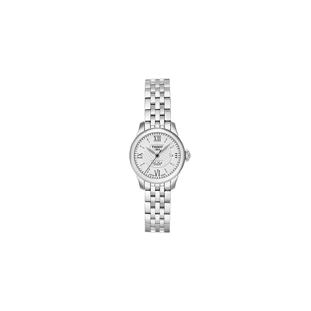 TISSOT Le Locle 力洛克系列圖騰紋機械女錶-白/25mm