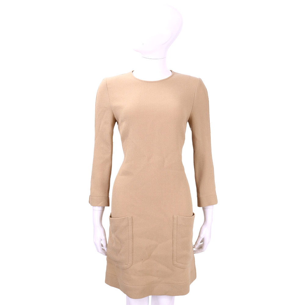 PHILOSOPHY 駝色口袋設計羊毛九分袖洋裝