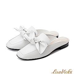 LisaVicky手工蝴蝶結小方頭穆勒鞋-白色