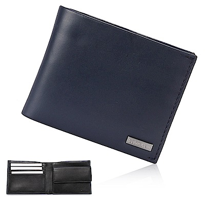 Calvin Klein 經典鐵牌LOGO零錢袋短夾-深藍色