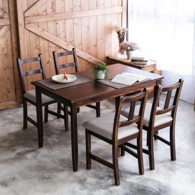 CiS自然行- 實木餐桌椅組一桌四椅74x118公分/焦糖+淺灰色椅墊