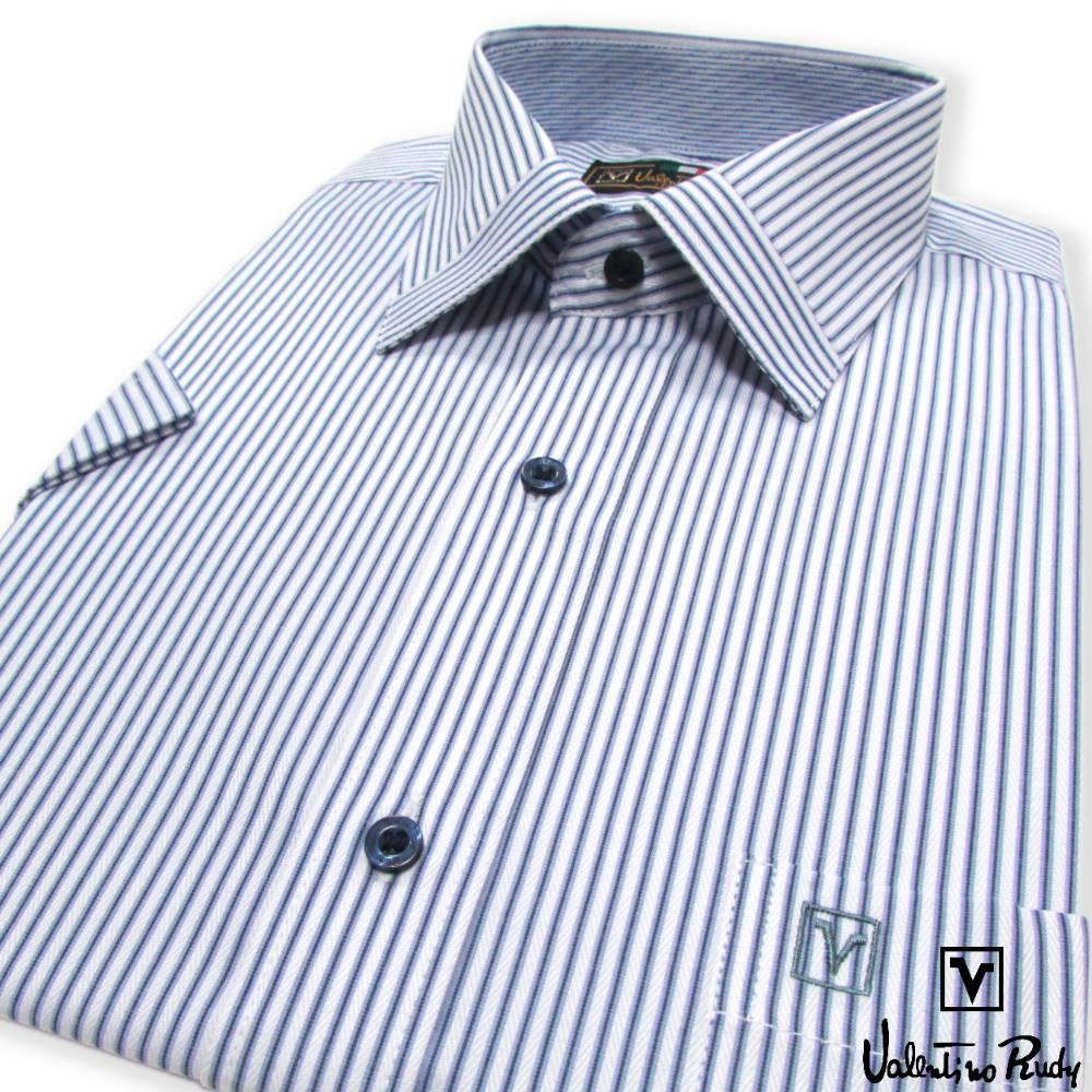Valentino Rudy范倫鐵諾.路迪-短袖襯衫-藍白直條