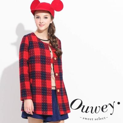 OUWEY歐薇-棋盤格配色毛料外套-紅