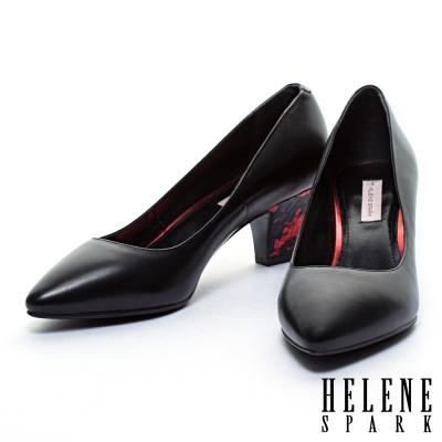 高跟鞋-HELENE-SPARK-獨特後跟牛皮尖頭高跟鞋-黑