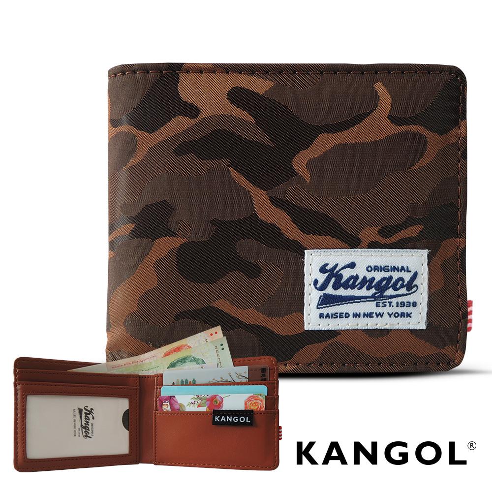 KANGOL 韓式潮流 多夾層橫式短皮夾+鑰匙圈禮盒-迷彩棕 @ Y!購物