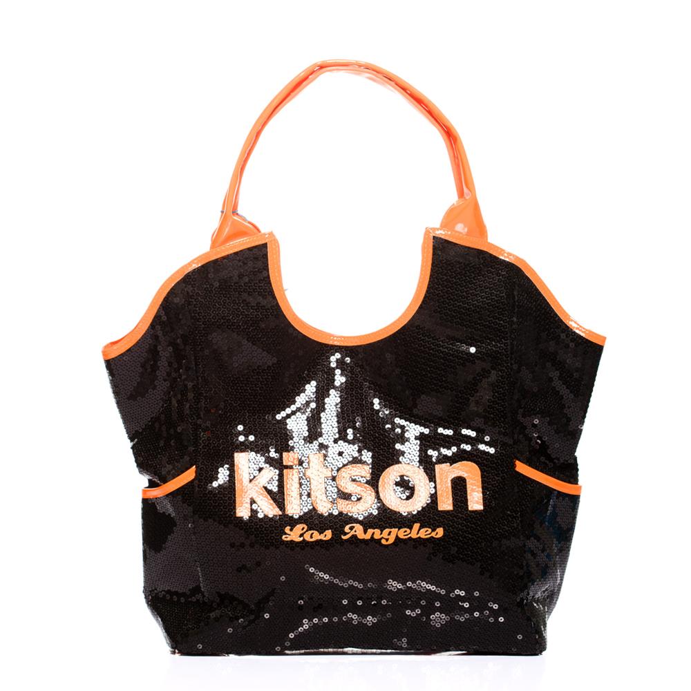 【kitson】 雙色亮片托特包 NEON ORANGE