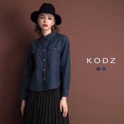 東京著衣-KODZ 經典率性丹寧風雙口袋設計襯衫-S.M.L(共二色)
