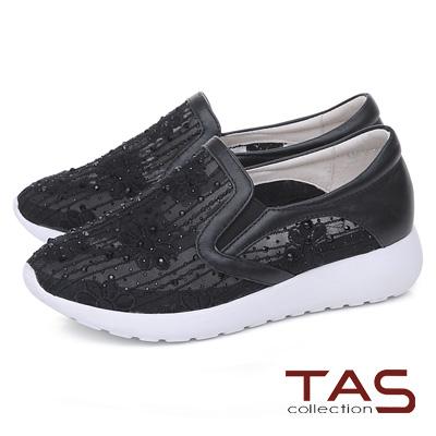 TAS 透膚蕾絲水鑽牛皮休閒鞋-性感黑