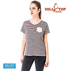 【hilltop山頂鳥】女款吸濕排汗抗UV彈性上衣S04FH3-珠桃粉黑條紋