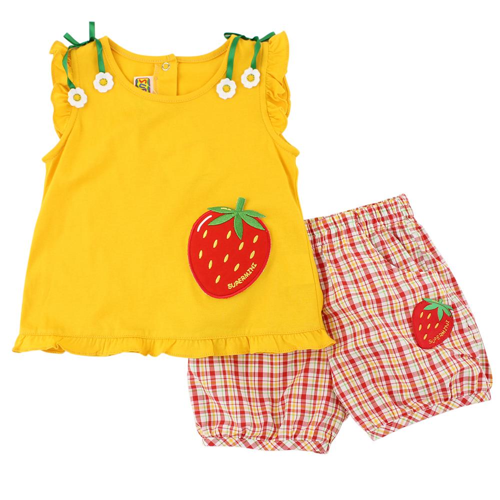 愛的世界 SUPERMINI 純棉草莓園無袖套裝/1~4歲