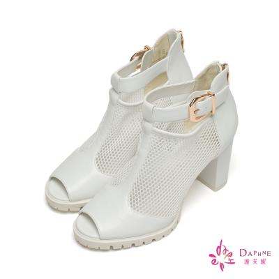 達芙妮DAPHNE 時髦女郎網面靴型魚口粗跟鞋-個性白
