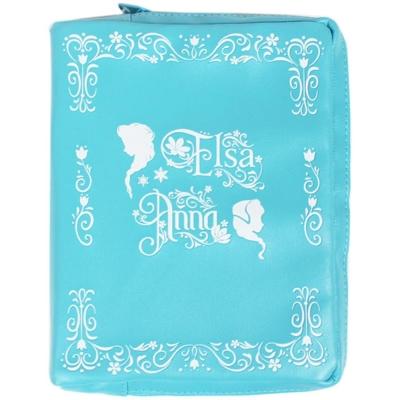 sun-star 迪士尼冰雪奇緣皮革書型收納包(冰雪藍)