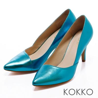 KOKKO台灣手工-經典尖頭閃色斜口高跟鞋 -靚藍