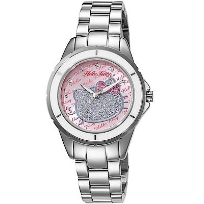 HELLO KITTY 凱蒂貓 微甜晶鑽手錶-銀x粉紅/35mm