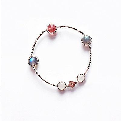Hera 赫拉 925純銀天然月光愛心四葉草莓晶手鍊