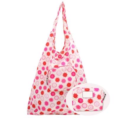 COACH-花朵輕巧收納尼龍摺疊購物袋