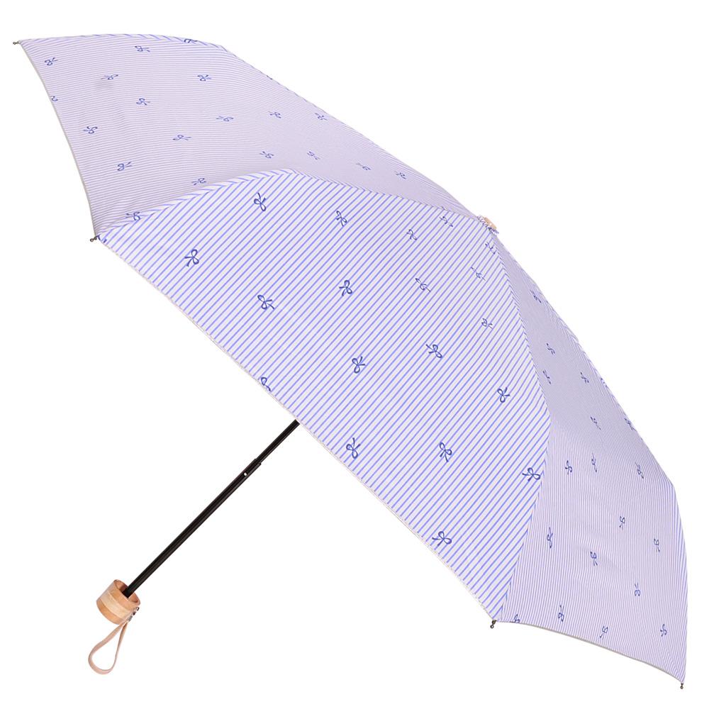 2mm 銀膠抗UV 蝴蝶結條紋輕量手開傘 (藍色)