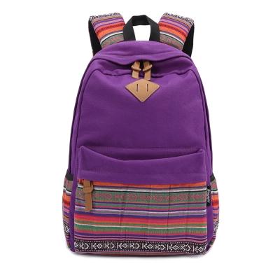 leaper雙肩點民族風後背包 紫色