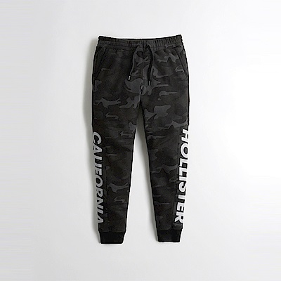 Hollister HCO 海鷗 經典文字印刷束口長棉褲-黑迷彩色