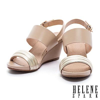涼鞋 HELENE SPARK 摩登時尚撞色異材質設計一字帶楔型高跟涼鞋-米