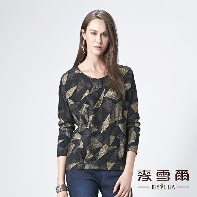 麥雪爾 金屬飾品線圈幾何棉質上衣
