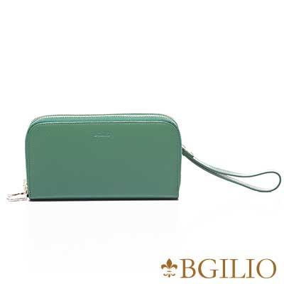 義大利BGilio 復古原味牛皮雙層拉鍊長夾(加厚版) -綠色 1969 . 333 - 08