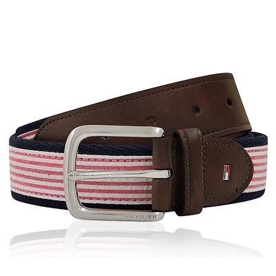 TOMMY 粉紅色條紋厚織帆布紳士皮帶-S/M/L號