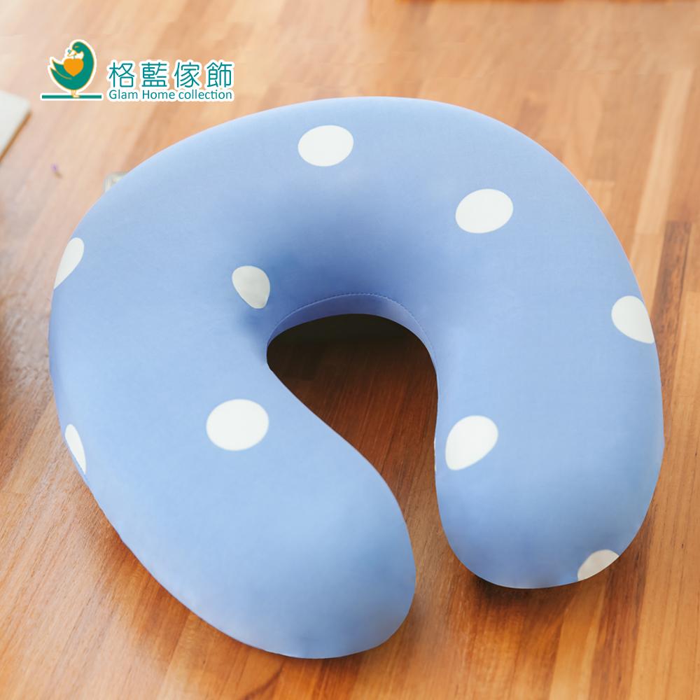 格藍傢飾 水玉涼感舒壓護頸枕(小)-蘇打藍