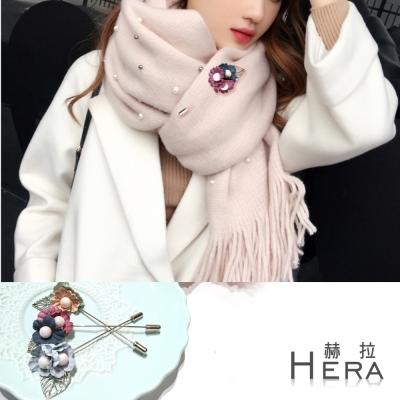 Hera 赫拉 珍珠花朵樹葉圍巾別針/胸針-三色
