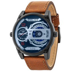 POLICE 公轉進行曲雙時區時尚腕錶(14835JSB-02)-50mm