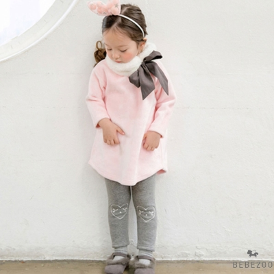 BEBEZOO 韓國 粉紅毛領蝴蝶結上衣內搭褲套裝2件組